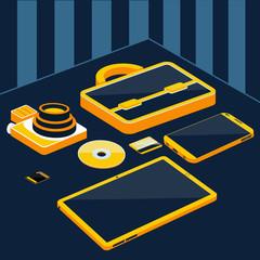 Briefcase camera smartphone tablet sd memory card