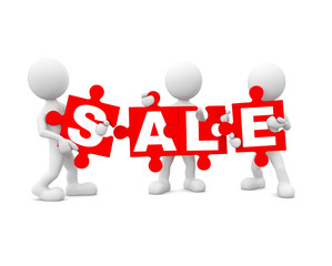 Group of people holding jigsaw puzzles sale
