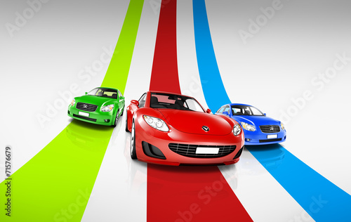 canvas print picture 3D Image of Colorful Cars on Track