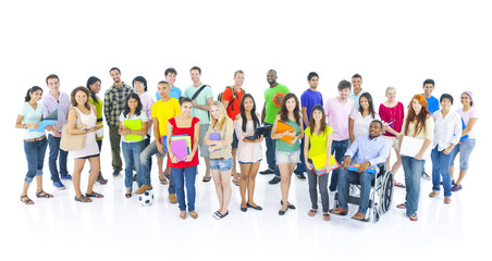 Large group of multi-ethnic young people