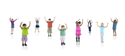 Multiethnic Group of Children Arms Raised
