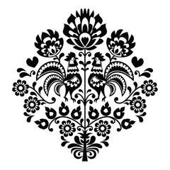 Polish folk art black pattern on white - Wzory Lowickie