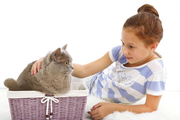 Beautiful little girl with cat in basket in room