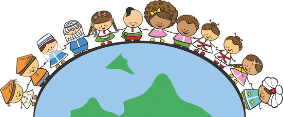 Doodle children of different nationalities on Earth