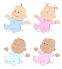 Happy babies boy and girl in blue and pink colors