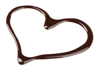 Chocolate syrup drips in shape of heart isolated on white