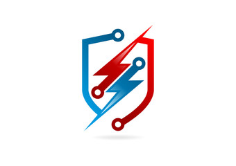 electric thunderbolt logo, abstract thunder shiel symbol Vector