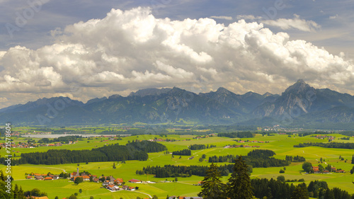 canvas print picture Bayern Alpen Berge Landschaft Panorama