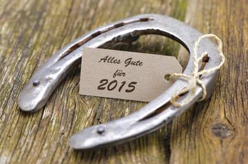 Neujahr 2015 mit Hufeisen als Glücksbringer