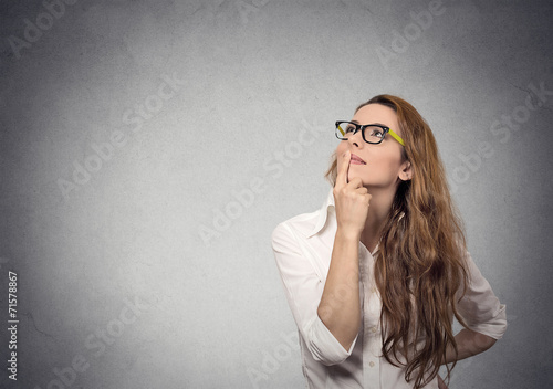 canvas print picture girl thinking looking up life perception vision concept