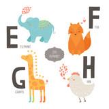 Fototapety Cute vector zoo alphabet