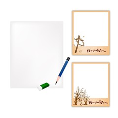 Pencil and Halloween Photo Frame with Blank Paper
