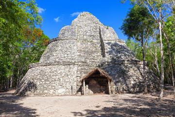 Xaibe pyramid in the ruined city of Coba, Yucatan, Mexico