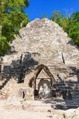 Pyramid structure known as La Iglesia in Coba complex, Mexico