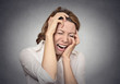 Headshot portrait desperate woman crying very upset