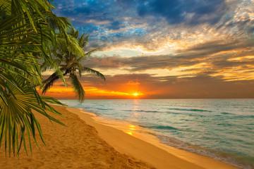 sunrise in a Caribbean beach