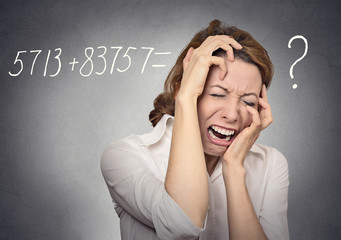 Stressed woman can't solve math problem crying face expression