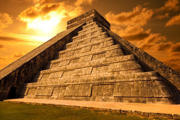 El Castillo of Chichen Itza. Mayan pyramid in Yucatan, Mexico