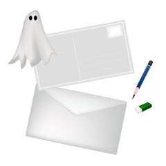 A Pencil and Envelope with Halloween Ghost
