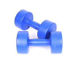 blue dumbbell on a white background