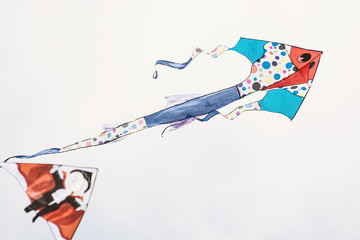 Painted kites flying