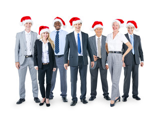 Business People in Christmas Hats