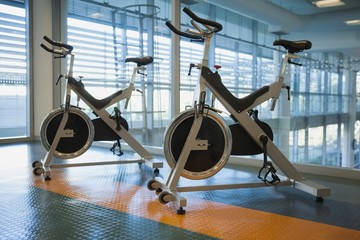 Spin bikes in fitness studio