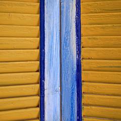 Greece, Tinos island, window shutters closeup