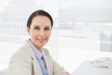 Smiling businesswoman sitting at work