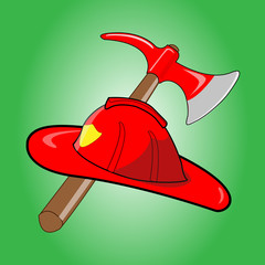 Firefighter helmet with crossed axe