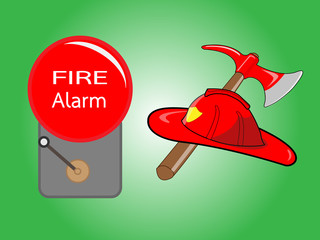 Firefighter helmet with crossed axe and Alarm bell