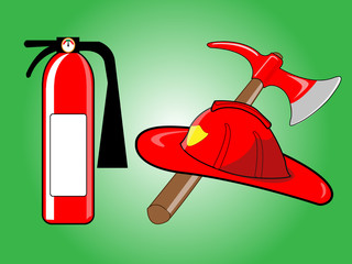 Firefighter helmet with crossed axe and Fire extinguisher