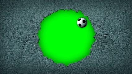 Fussball zerschlägt ein Wand, animation