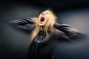 scared young blonde woman