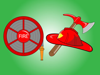 Firefighter helmet with crossed axe Fire hose reel