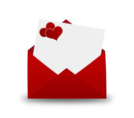 Red Envelope with a heart for Valentine's day.