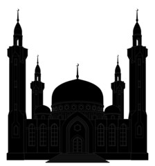 Vector illustration. Silhouette of mosque