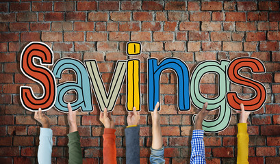 Group of Diverse People's Hands Holding Savings