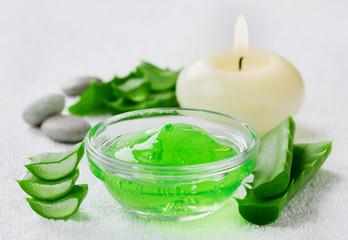 fresh aloe vera leaf and aloe gel