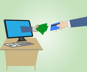 Hand with money and Hand hold credit card