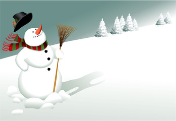 Winter background with cartoon snowman