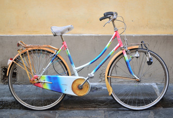 bike painted in all the colors of the rainbow