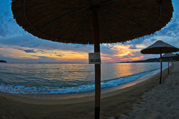 Beach near small greek village Toroni at sunset in Sithonia