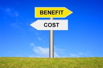 Schild Wegweiser: Cost Benefit