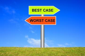 Schild wegweiser: Best case / Worst Case