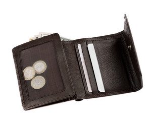 brown leather wallet or purse with money isolated on white