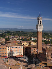 Piazza del Campo, Palazzo Pubblico, Siena, Italia