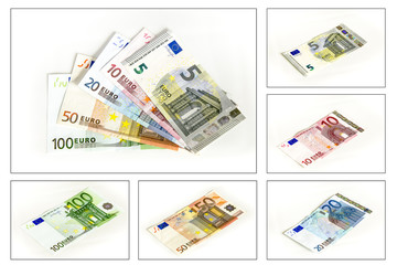Kollektion Euro Geldscheine auf weissem Hintergrund