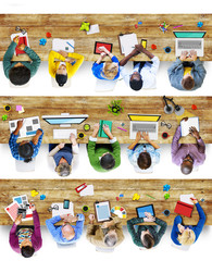 Group of People Using Devices Photo Illustration
