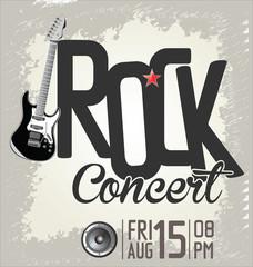 Rock music retro banner